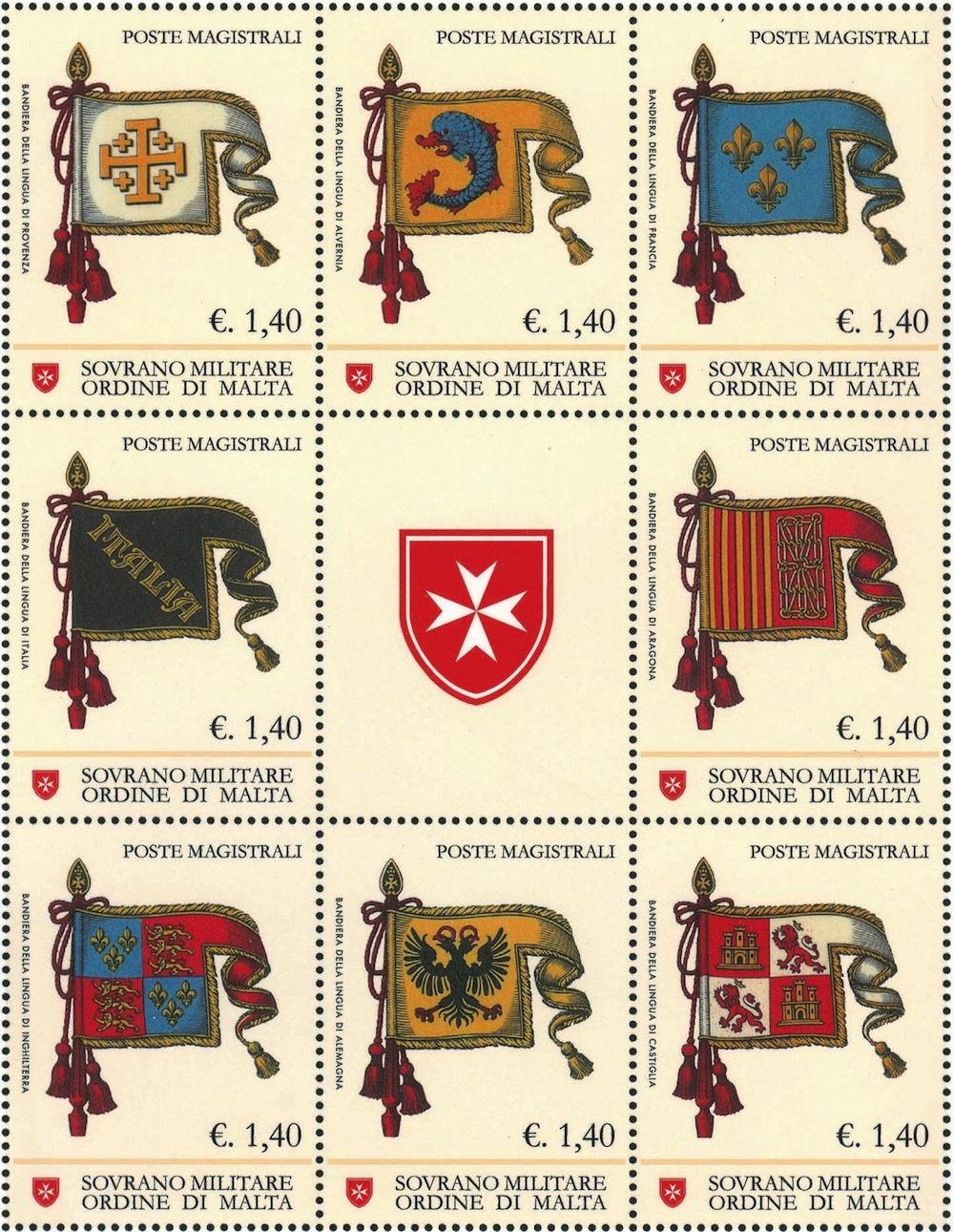 bandiere delle antiche lingue dell'Ordine di San Giovanni a Rodi e a Malta