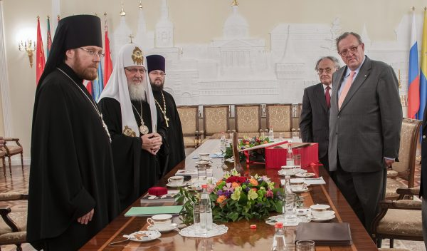 Kirill Patriarch of Moscow and all the Russias, receives Fra' Matthew Festing