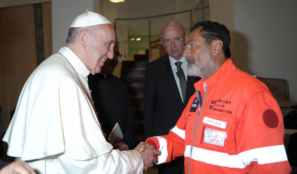 Order of Malta volunteers greet Pope Francis Lampedusa