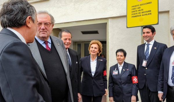 Grand Master visits First-aid post St. Peter's square Rome Vatican