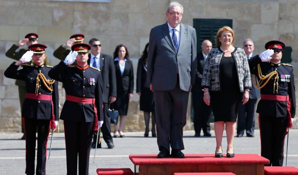 the Grand Master Fra' Matthew Festing during the State Visit to Malta