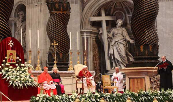 His Holiness Pope Benedict listens to the address of the Grand Master Fra' Matthew Festing
