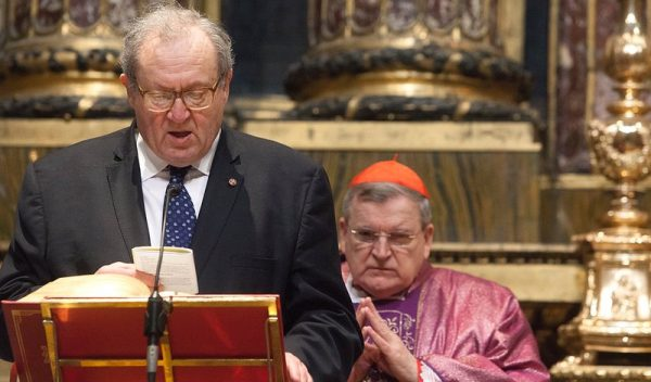 Fra Matthew Festing Grand Master of the Order of Malta during a mass in Santa Maria Maggiore in Rome for young British volunteers