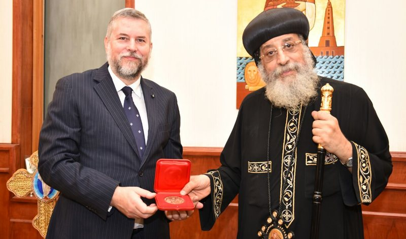 Ambassador of the Order of Malta to Egypt Mario Carotenuto received in audience by His Holiness Pope Tawadros II