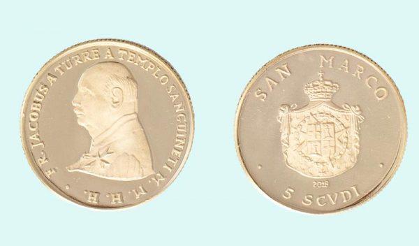 Moneta in oro da 5 Scudi